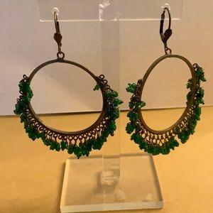 Jewelry - VINTAGE 60's brass hoop  beaded fringe earrings